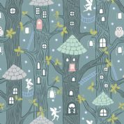 Lewis & Irene - Fairy Lights - 6094 - Fairy Houses on Teal  (Glowing) - A306.3 - Cotton Fabric